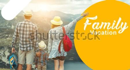 family vacation creative banner with 3 family people  and  yellow colour . this banner use for your travel business and travel website banner, Facebook AD, Google Ad.